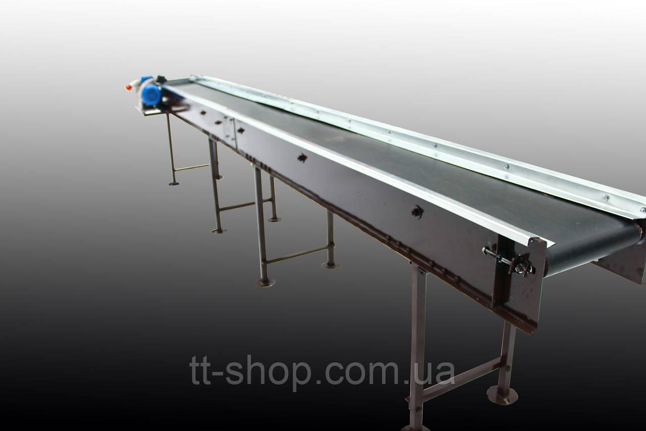 Стрічковий конвеєр довжиною 15 м, ширина 300 мм дв. 4 кВт