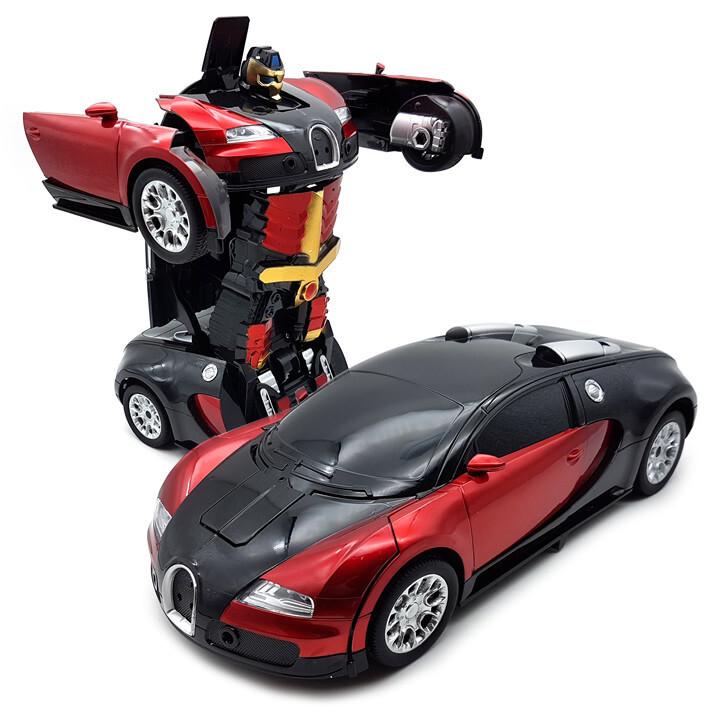 Игрушка машинка - трансформер на радиоуправлении Bugatti Robot, размер 1:18