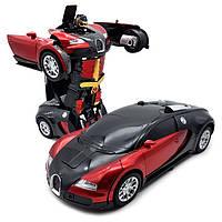 Игрушка машинка - трансформер на радиоуправлении Bugatti Robot, размер 1:18, фото 1