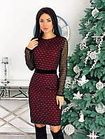 Женское стильное платье с 42 по 48 рр креп дайвинг + сетка