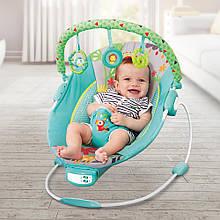 Дитячий підлоговий музичний шезлонг-баунсер для дітей, Mastela синьо-зелений .Дитяче крісло качалка