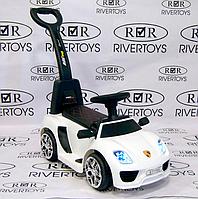 Детский электромобиль-толокар 2 в 1 с ручкой и кожаным сиденьем Porsche M 3592L белый