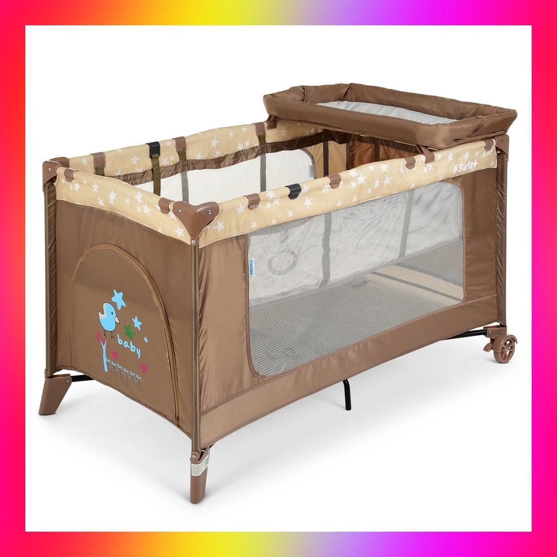 Дитяча манеж-ліжко з пеленальним столиком 2 в 1 El Camino Safe Plus ME 1054 Stars Gray бежевий