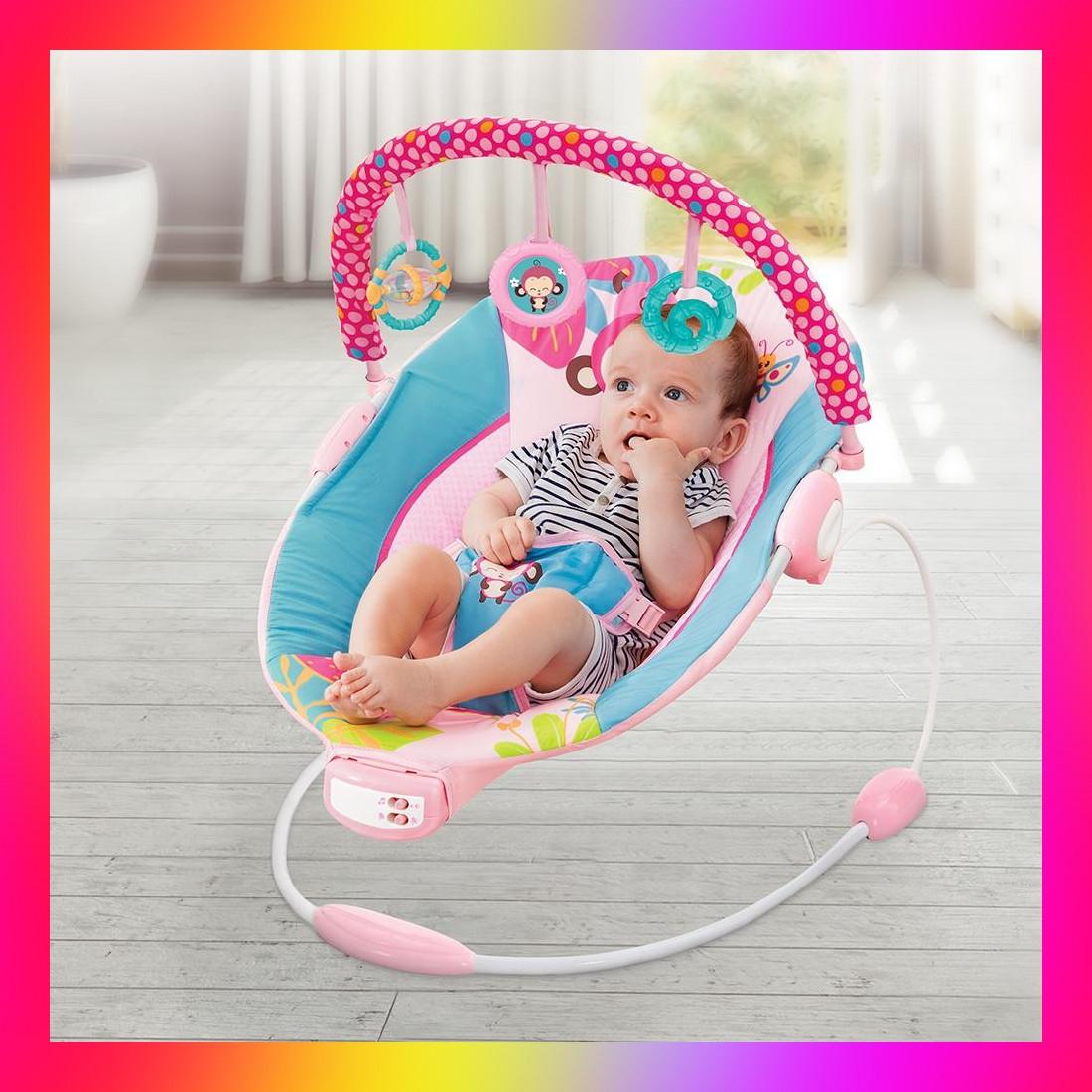 Детский напольный музыкальный шезлонг-баунсер Mastela сине-розовый цвет. кресло качалка для детей