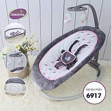 Шезлонг-качалка детский Mastela с регулируемой спинкой 6917 серо-розовый . Кресло-качалка для новорожденных