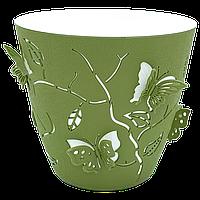 Горшок для цветов 3D 1,4 л тёмно-зелёный, фото 1