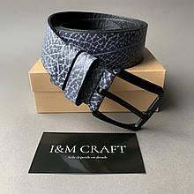 Ремень I&M Craft из натуральной кожи серый (R100128)