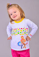 Детская футболка для девочки с длинным рукавом Фиксики Симка и Нолик, рост 98