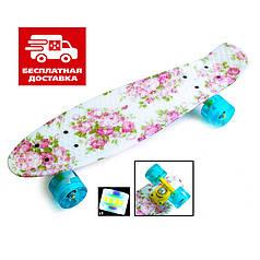 Скейт Пенни борд Penny Board Print Led 22 Bonus - Пенні борд Flowers  54 см
