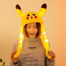 Светящаяся шапка с двигающимися ушами пикачу, Pikachu. Зверошапка
