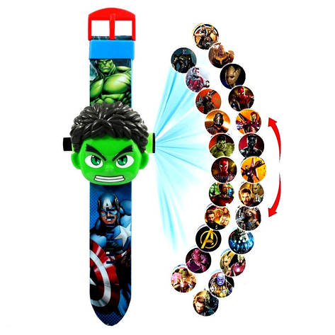 """Детские наручные часы с 3d проектором """"Халк / Мстители (Hulk / The Avengers)"""" в оригинальной упаковке, фото 2"""