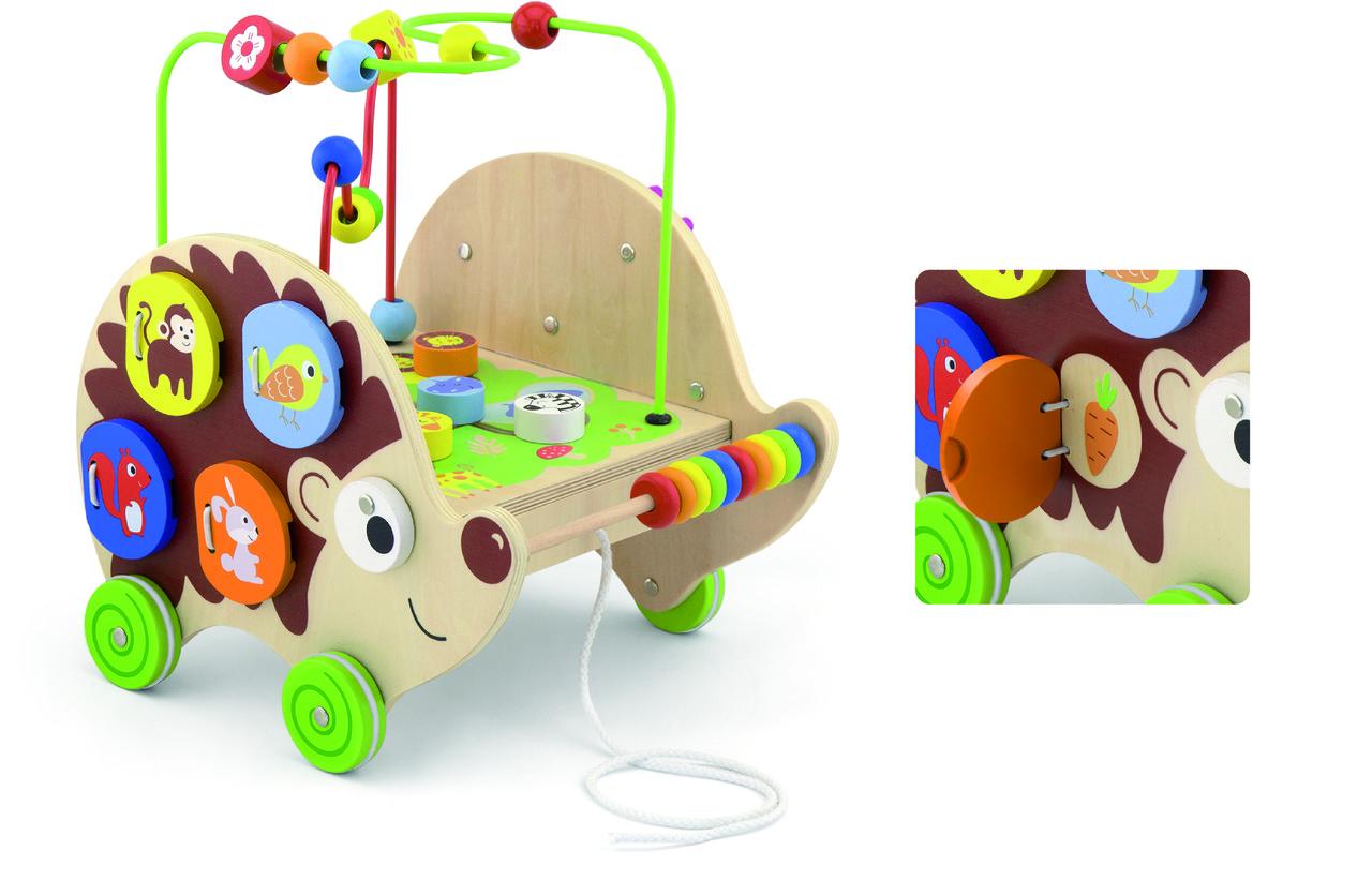 Деревянная каталка Ежик с бизибордом Viga Toys 50012