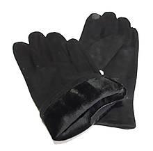 Сенсорні чоловічі замшеві перчатки, підкладка фліс 11-13, чорні
