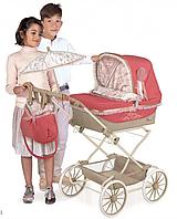 Детская классическая коляска для кукол и пупсов с зонтиком и регулируемым козырьком 82033 красная