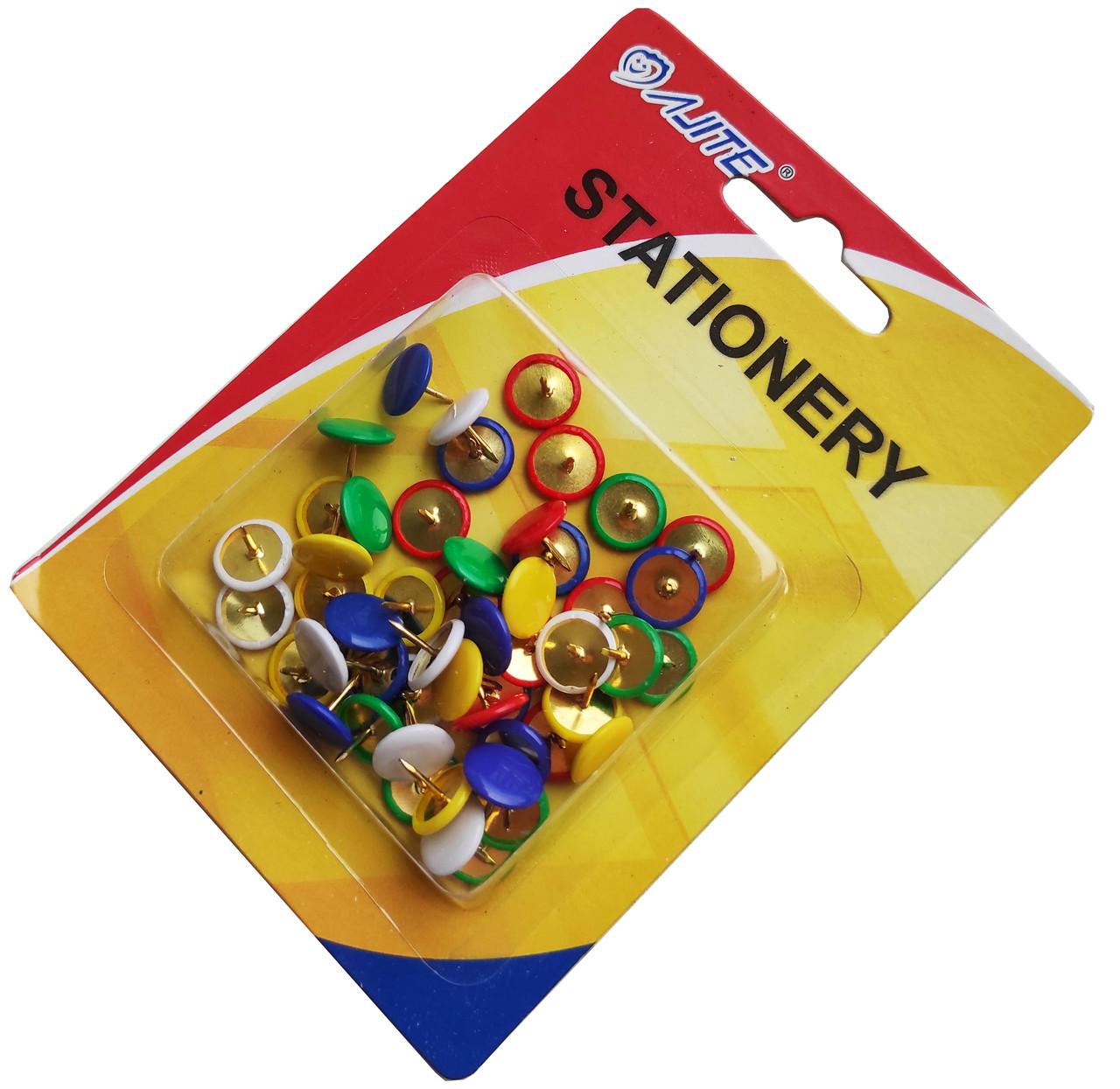 Кнопки канцелярские цветные (50шт/уп)