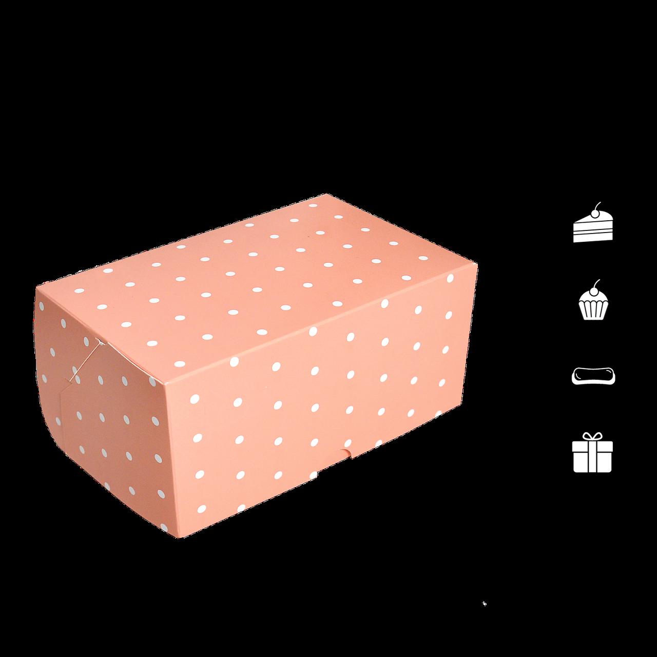 Коробка для торта КТ 0116 (1кусок) Розовый горох 100*160*80мм (уп/25шт)