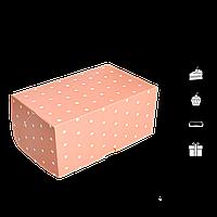 Коробка для торта КТ 0116 (1кусок) Розовый горох 100*160*80мм (уп/25шт), фото 1
