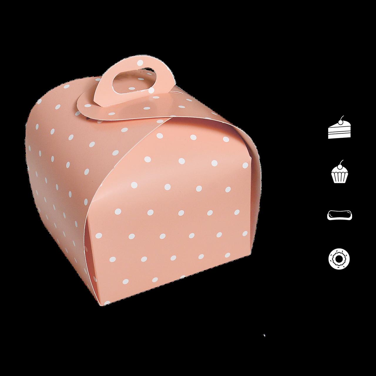 Коробка для торта купольная КТ 0416 розовый горох 110*110*110мм (уп/25шт)