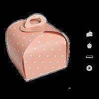 Коробка для торта купольная КТ 0416 розовый горох 110*110*110мм (уп/25шт), фото 1