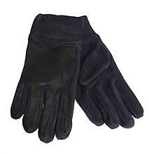"""Чоловічі перчатки замша/фліс """"М"""", чорні"""
