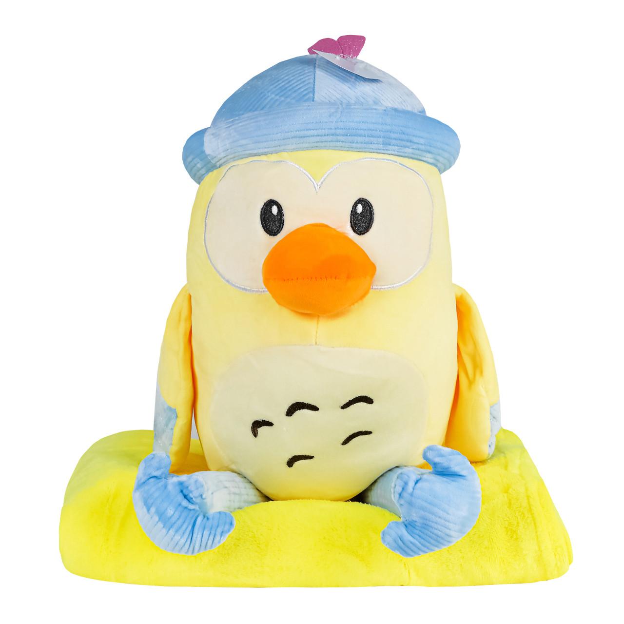 Игрушка с пледом Пингвин в голубой шапке, плюшевая декоративная игрушка-плед 2в1