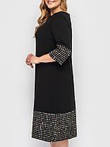 Красивое офисное нарядное платье из принтованного трикотажа Черное Большие размеры, фото 3