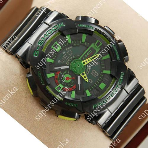 Популярные спортивные наручные часы Casio GA-110 Black/Black/Green 626