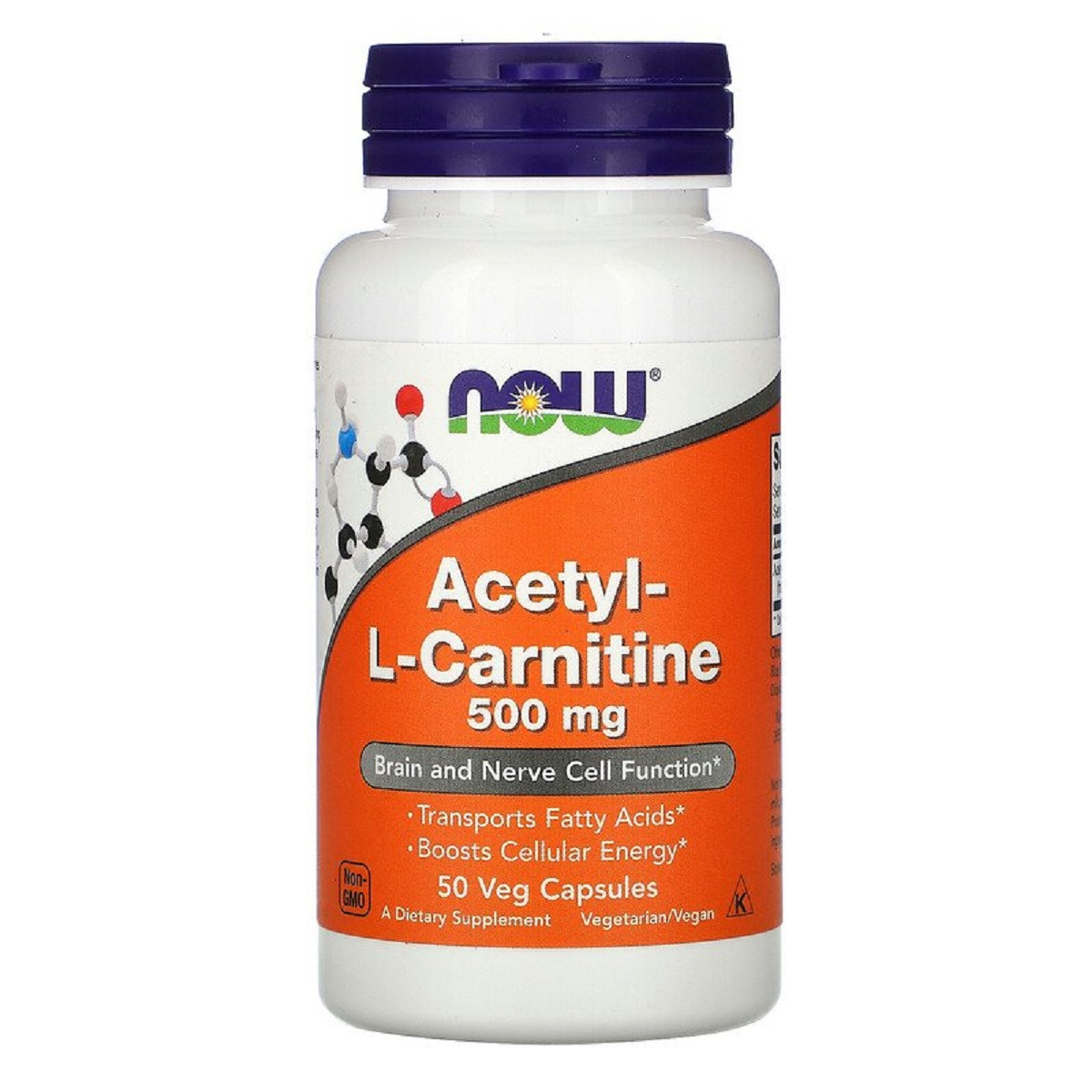 Ацетил-L-Карнитин, Acetyl-L-Carnitine, Now Foods, 500 мг, 50 вегетарианских капсул