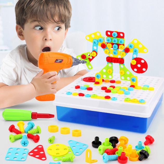 Конструктор мозайка детский TU LE creative puzzle 4в1 чемодан 193 детали креатив пазл