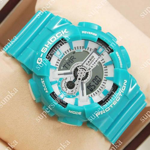 Яркие наручные спортивные часы Casio GA-110 Azure/White 627