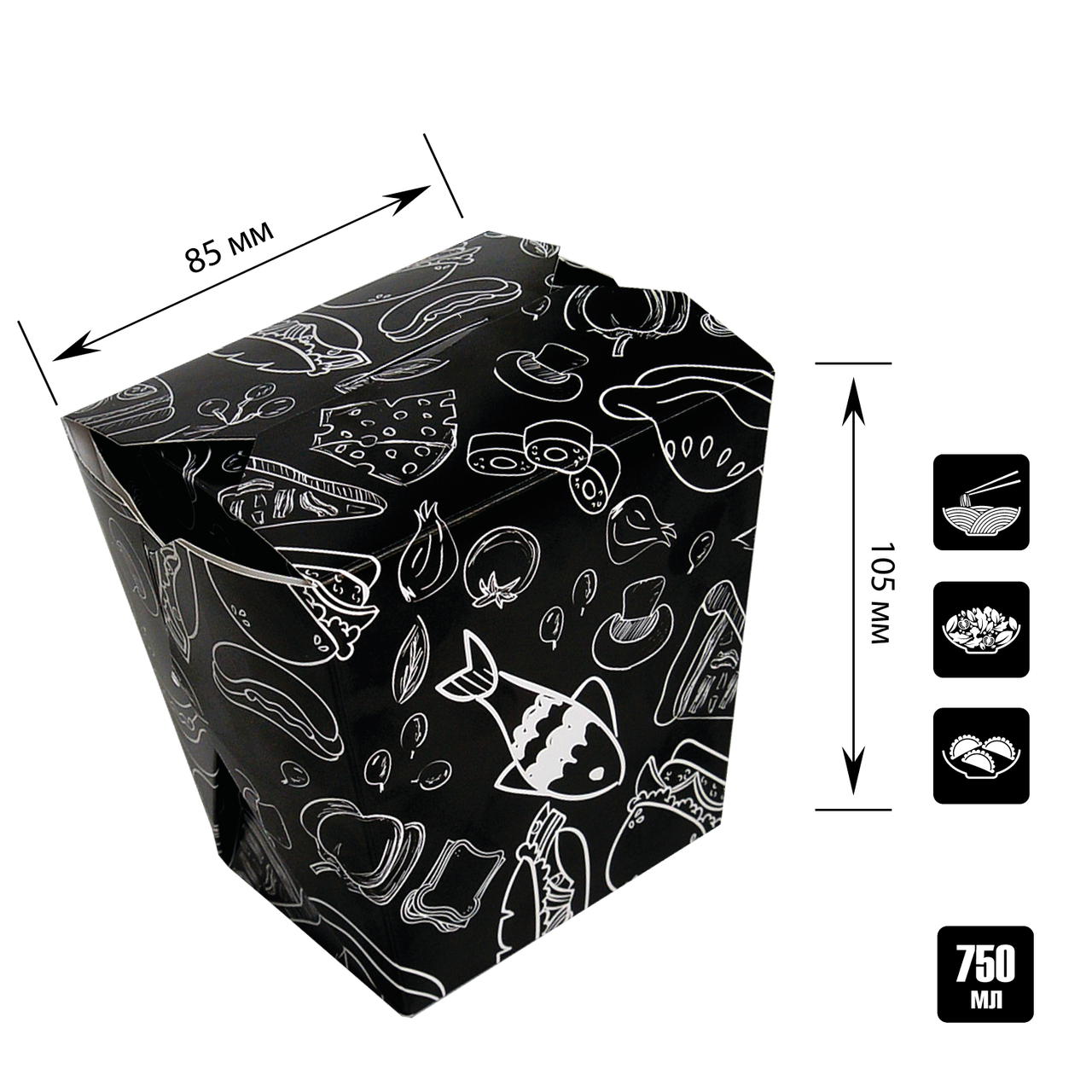 Упаковка для лапши ЛЛ 0203 чёрный с рисунком 65*85*105мм 750мл/500г (уп/25шт)