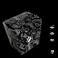 Упаковка для лапши ЛЛ 0203 чёрный с рисунком 65*85*105мм 750мл/500г (уп/25шт), фото 1