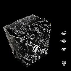 Упаковка для лапши с рисунком чёрная 65х85х105мм