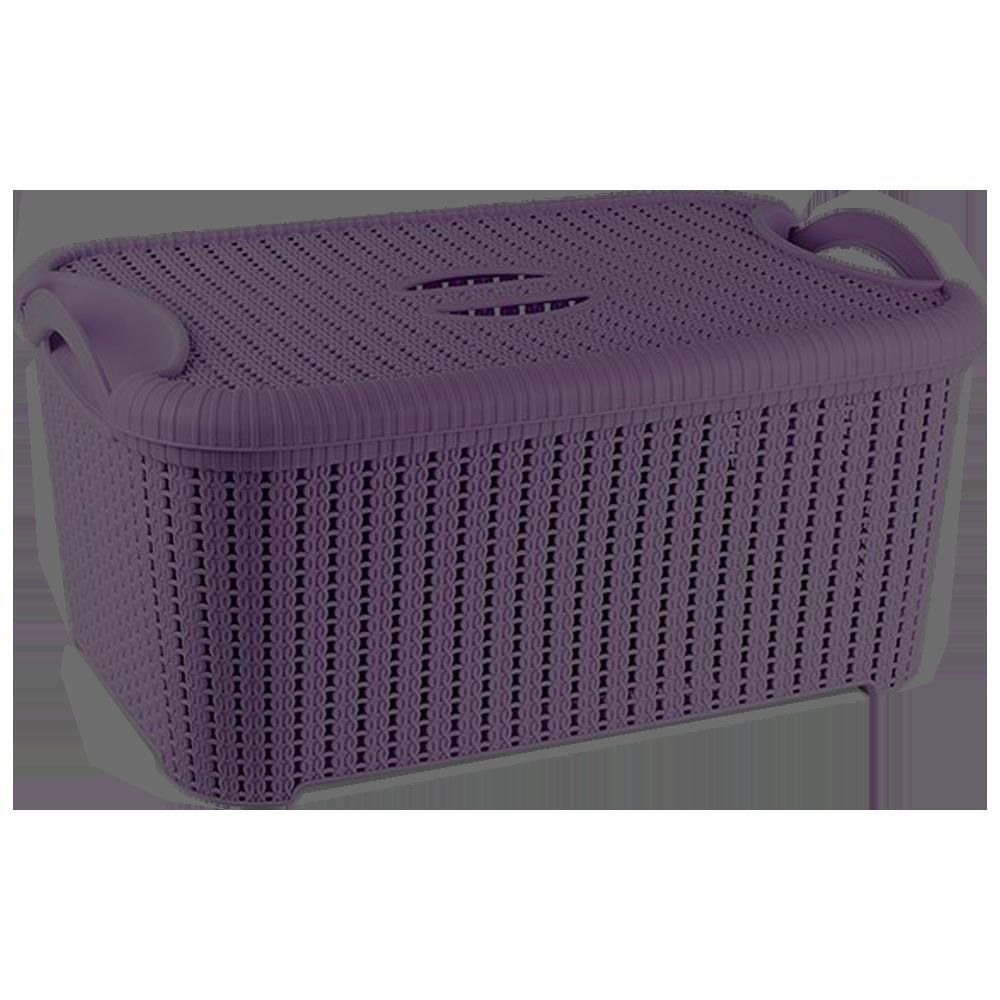 Корзина с крышкой Flexi 22 л тёмно-фиолетовая