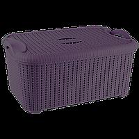Корзина с крышкой Flexi 32 л тёмно-фиолетовая, фото 1