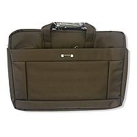 """Сумка- портфель для ноутбука, большая, до 17"""". Сумка для документов коричневая ( код: IBN004K )"""