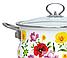 Эмалированная кастрюля с крышкой Benson BN-120 белая с цветочным декором (5.9 л) | кухонная посуда | кастрюли, фото 4