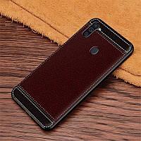 Чехол Fiji Litchi для Samsung Galaxy A11 (A115) силикон бампер с рифленой текстурой темно-коричневый