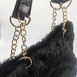 Женская большая меховая классическая черная сумка на цепочке с мехом черная, фото 4