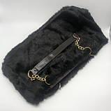 Женская большая меховая классическая черная сумка на цепочке с мехом черная, фото 5