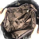Женская большая меховая классическая черная сумка на цепочке с мехом черная, фото 6