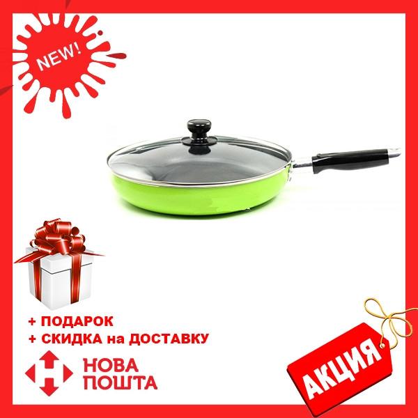 Сковорода с антипригарным покрытием с крышкой Maestro MR-1200-28 зеленая | сковородка Маэстро, Маестро