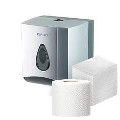 Диспенсер универсальный для рулонной и листовой туалетной бумаги Rixo Maggio P176S серебристый пластиковый