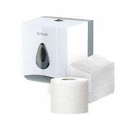 Універсальний тримач роздавальник для рулонної і листової туалетного паперу Rixo Maggio P176W білий ABS-пластик