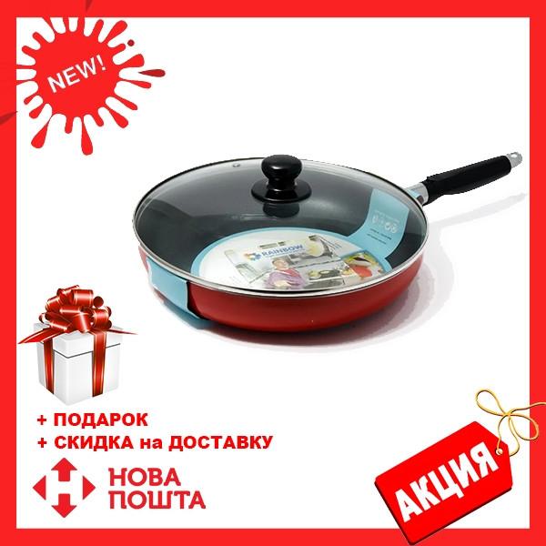 Сковорода с антипригарным покрытием с крышкой Maestro MR-1200-28 красная   сковородка Маэстро, Маестро