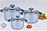 Набор кастрюль из нержавеющей стали 6 предметов Benson BN-190 (2,1 л, 2,9 л, 3,9 л) | кастрюля Бенсон, фото 4