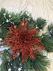 Новогодний декор. Пуансеттия красная  ( 12 см), фото 3