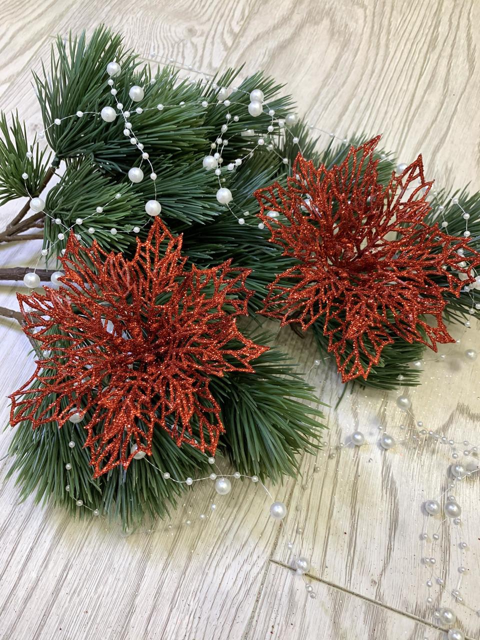 Новогодний декор. Пуансеттия красная  ( 12 см)