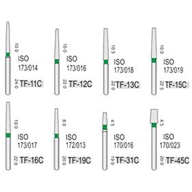 Алмазные турбинные боры грубые (125-150μ), TF - конус с плоским кончиком