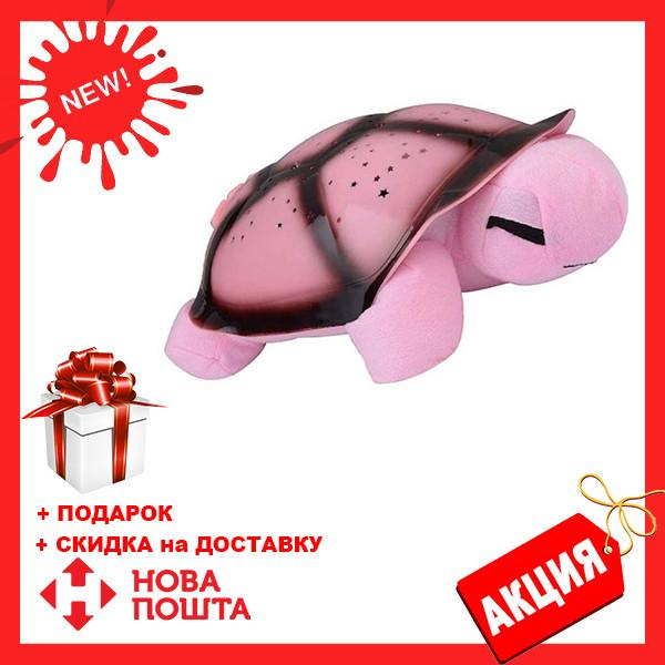Ночник - проектор черепаха Turtle Night Sky с USB кабелем | светильник РОЗОВЫЙ